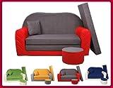 Sofa enfant 2 places convertibles Bi-color rouge/gris W282 03...
