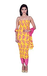 Apratim Women's Cotton Unstitched Dress Material (Yellow and Pink)