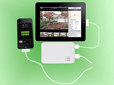 Superb Choice Dual-Port External Battery Pack and Charger (White Color) 5000mAh for iPad2, iPad, iPhone 4G, 3Gs 3G 2G (AT&T and Verizon), iPod Touch (1G 2G 3G 4G), iPod Classic, Motorola Droid Phones, HTC Android Phones, Blackberry, Kindle DX, Samsung Gal
