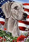 Weimaraner Dog - Tamara Burnett Patriotic I Garden Dog Breed Flag 12'' x 17''