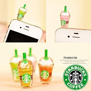 1 x StarBucks Frappuccino Ice Coffee Cell Phone Charm 3.5mm Anti Dust Earphone Jack Plug iphone 4 4S (No 1)