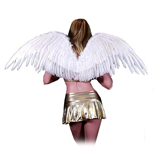 SACAS Large White Feather Angel Fairy Wings with Free Halo for Halloween Party