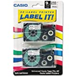 Label Printer Tape For CWL-300 - 9mm Tape, Black-On-Clear, 2 Pack