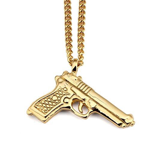 NYUK New Arrival Mens Trend Hip Hop Rap Pistol Gun Pendant Necklace(Gold) (Gold Gun Necklace compare prices)