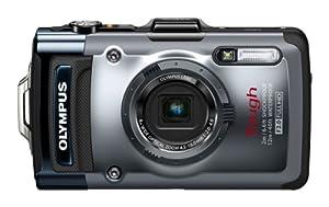 Olympus TG-1 Digitalkamera (12 Megapixel CMOS-Sensor, 4-fach opt. Zoom, 7,6 cm (3 Zoll) OLED-Display, F2,0 Objektiv, GPS, wasserdicht bis 12 m, kälteresistent, staub-, stoß und bruchgeschützt) silber