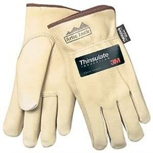 MCR Safety 3460L Artic Jack Thinsulate Premium Grain Pigskin Thermosock Lined Driver Gloves with Keystone Thumb, Cream, Large, 1-Pair