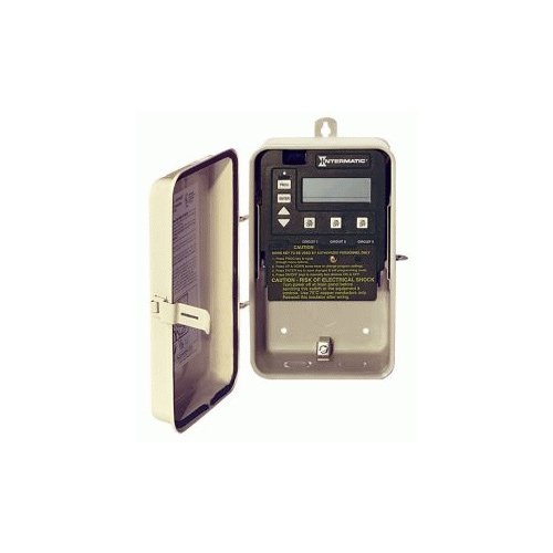 Intermatic Pe153P Timer, 120/240V 3-Circuit Digital Timer In Rainproof Enclosure