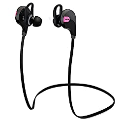 Mpow Swift Bluetooth 4.0 Wireless Sport Headphones Sweatproof Running Gym Exercise Headsets with Mic for iPhone 6 6S Galaxy S6 and more(Pink),Pink