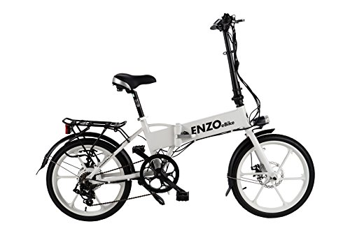 Enzo Ebikes Electric Folding Aluminum Bicycle with Lithium-Ion Battery, White Glow In The Dark, 20 inch / One Size