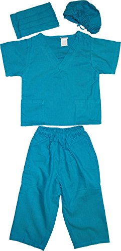 [Kids Doctor Dress up Surgeon Costume Set, 2T/3T, Teal] (Doctor Costumes For Toddlers)