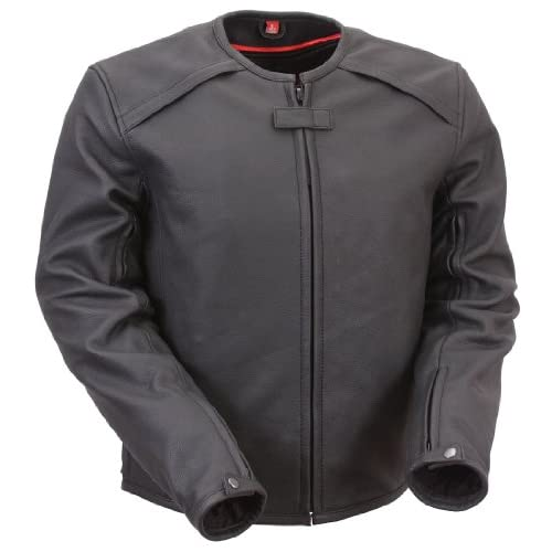 Mens First Racing Armored Black Leather Motorcycle Jacket [X Large]
