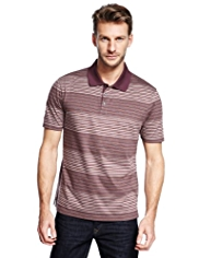 Slim Fit Pure Cotton Mercerised Multi-Striped Polo Shirt