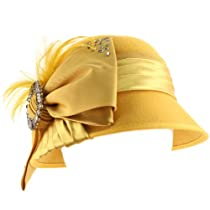 Winter Wool Baguette Bling Ribbon Feathers Cloche Bucket Hat Adjustable Mustard