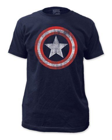 Captain America Distressed Shield Logo Adult T-shirt