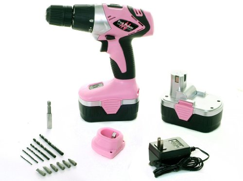Pink-Power-PP182-18V-Cordless-Drill-Kit-for-Women-with-2-Batteries-Case-Charger-Bit-Set