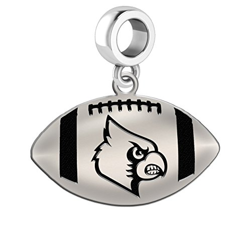 University of Louisville Cardinals Sterling Silver Football Cut Out Drop Charm Fits All European Style Charm Bracelets