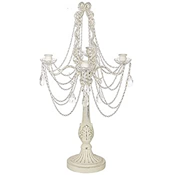 """Antique White 27"""" High Taper Candle Four-Arm Candelabra"""