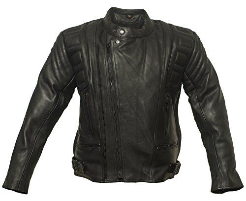 Mediamate Bikerjacke aus rubustem Rindsleder, Motorradjacke, Rockerjacke, Biker, Highway Jacke, Chopperjacke, Lederjacke, Rindleder (XL)