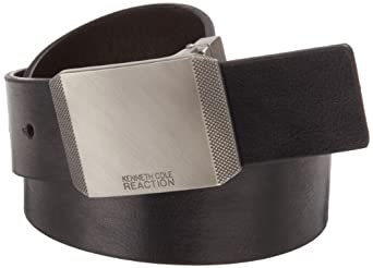 Kenneth Cole Reaction Men's Beveled Edge Plaque Buckle Belt, Black/Brown, 44