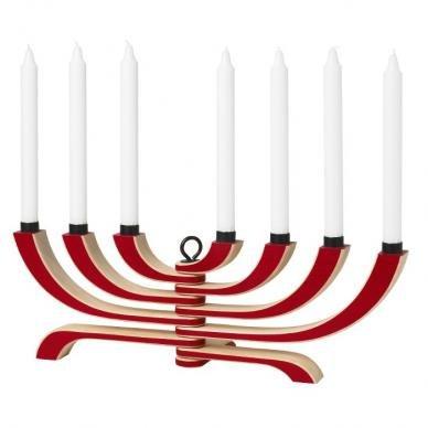 NORDIC LIGHT Kerzenständer 7-Armig Rot Design House Stockholm