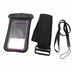 Black Pink Water Resistant Bag Pouch + Armband + Neck Lanyard for iPhone 4 4S