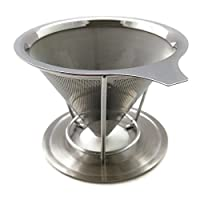 Pour Over Coffee Maker - Paperless Reusable Stainless Steel Drip Coffee Cone Filter with Removable Stand (1-2 Cup)