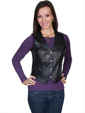 Scully Women's Western Lamb Leather Vest Black XX-Large