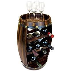 Puzzled Alexander - 8 Bottles Wooden Holder - Barrel Shape Wine Décor Rack Stand Furniture - Barrel Collection - Unique and Elegant Gift - Item #9420