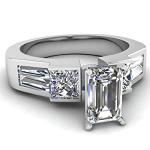 2.30 Ct Emerald Cut:Ideal Diamond Engagement Ring Bezel Set Gold VVS2-E GIA Certificate # 2156916486