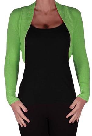 EyeCatchKnitwear - Lara Long Sleeve Knitted Bolero Shrug One Size Apple Green