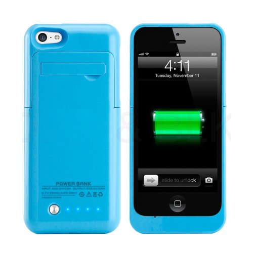 Iphone 5 Iphone 5S Iphone 5C Universal Slim Case Battery Rechargeable Backup Case Charger Battery Case Cover Portable Outdoor Moving Battery Slim Light External Battery 2200 Mah For Iphone 5 5S 5C With 4 Led Lights And Built-In Pop-Out Kickstand Holder Su