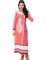 Exotic India Salmon-Rose Long Choodidaar Kameez Suit With Thread-Embroide - Pink