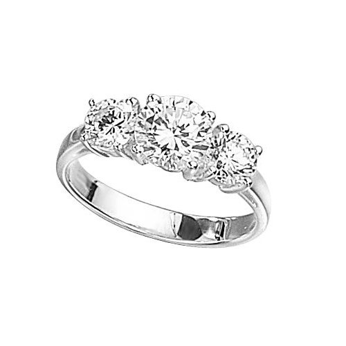 Elements Sterling Silver R2045C 54 Ladies' Clear Cubic Zirconia Three Stone Ring - Size Medium