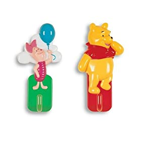 Pooh & Piglet Self Adhesive Coat Hooks