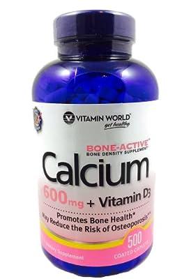 Vitamin World Calcium 600 mg Vitamin D3, 500 Caplets
