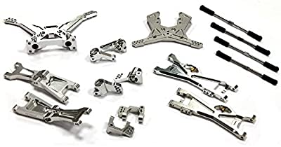 Integy C25144SILVER Billet Machined Complete Suspension Kit for Associated SC10B Off-Road