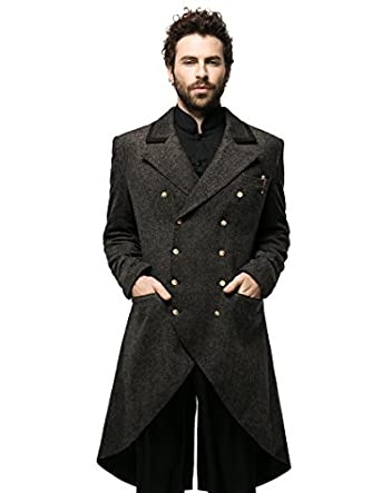 Steampunk Men's Coats Steampunk Dandy Retro Military Double-Breasted Tweed Tuxedo Frock Coat $205.00 AT vintagedancer.com