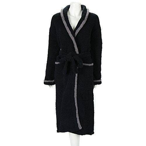 KASHWERE カシウェア バスローブ ガウン Shawl Collared Robe ショールカラーローブ Black / Slate Trim ブラック/スレート r-03-183-02並行輸入品