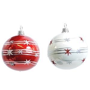 2stk christbaumkugeln glas rot und wei handbemalt mundgeblasen weihnachtskugeln baumkugeln. Black Bedroom Furniture Sets. Home Design Ideas