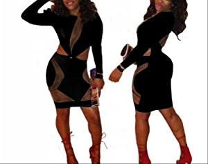 Tuotuo Sexy Women Bodycon Bandage Long Sleeve Dress Slim Fit Cocktail Party Clubwear