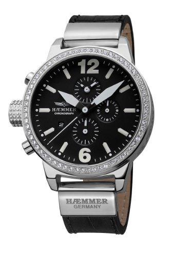 Haemmer Women's DHC-01 Secrets Crystal Bezel Black Dial Chronograph Watch