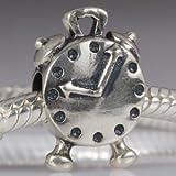 Alarm Clock Authentic 925 Sterling Silver Bead Fits Pandora Chamilia Biagi Troll Charms Europen Style Bracelets