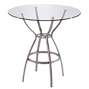 Trica Rome Bar Height Table with Glass Top, 42-1/2 inch H, 30 inch Dia. Glass Top, Starry Night
