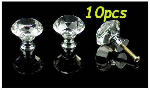 10Pcs Door Cabinet Knob 30mm Diamond Shape Crystal Glass Drawer Cupboard Pull Handle