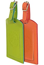 Luggage Tag Set. 2-Pc. Highly Visible For Baggage.  For Mr Mrs & Kids. PU Leather.