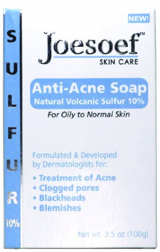 Joesoef Anti-Acne Soap, Natural Volcanic Sulfur 10%, for Oily to Normal Skin, 3.5-Ounces (Pack of 3)