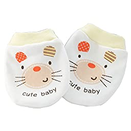 Smile Double Layers cotton Baby-boys Newborn Mittens Anti-Scratch Handguard Yellow