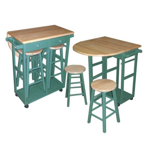 Drop-Leaf Breakfast Cart (Hunter Green) (32.5
