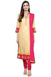 Trishaa by Pantaloons Women's Straight Churidar Kurta Dupatta ( 205000005658123, Beige, X-Large)