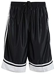 Mens Two Tone Training/Basketball Shorts with Pockets (S up to 4XL) (L, Black)